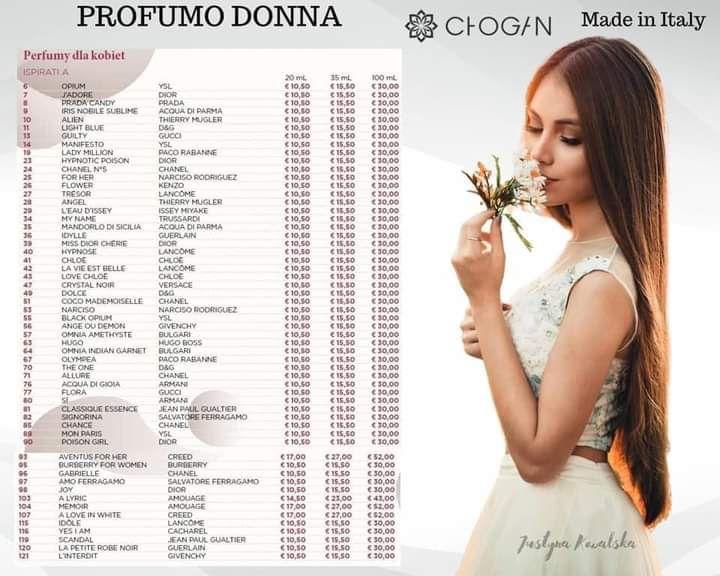 Tabella Profumi donna Chogan