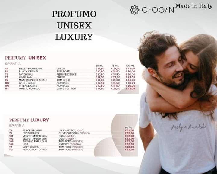 Tabella profumi luxury chogan